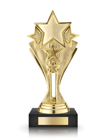 trophy winner: star awards isolated on white background Stock Photo