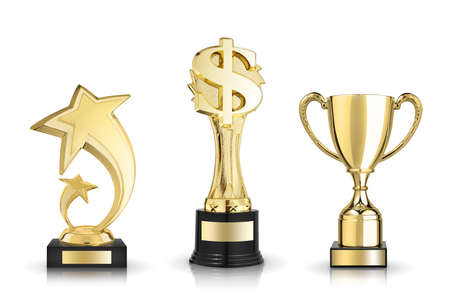 Cup trophy, star award and dollar sign trophy Stock Photo