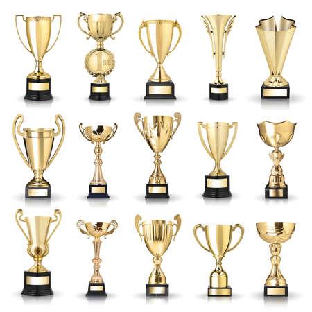 primer lugar: Conjunto de trofeos de oro. Aislado en el fondo blanco