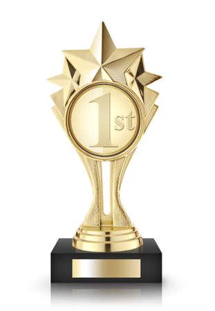 awards: Premios Estrellas de oro aisladas sobre fondo blanco