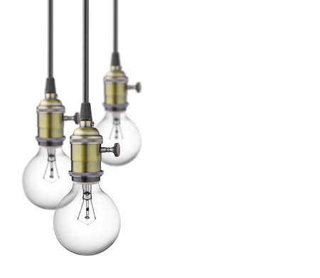lamp light: Vintage light bulbs isolated on white background Stock Photo