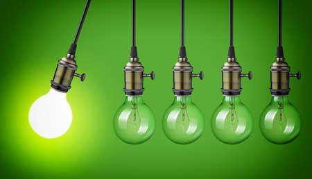 eficiencia energética: El movimiento perpetuo con las bombillas de época Foto de archivo