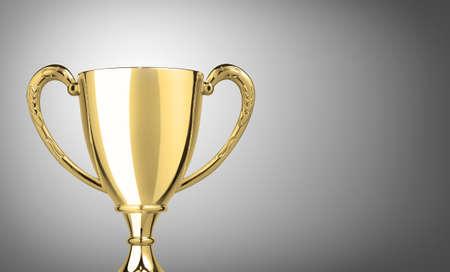 Kampioen gouden trofee op grijze achtergrond