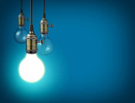 Idea concept with vintage light bulbs 스톡 콘텐츠