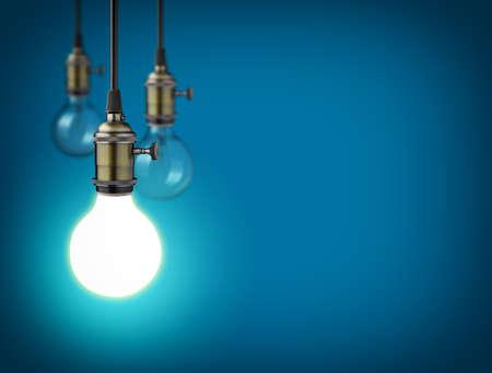 Idea concept with vintage light bulbs Foto de archivo