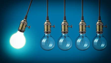 pendulum: Perpetual motion with vintage light bulbs Stock Photo