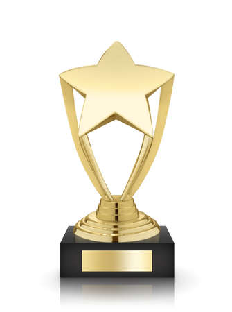 trofeo: Concesión de la estrella del oro aislada en el fondo blanco Foto de archivo