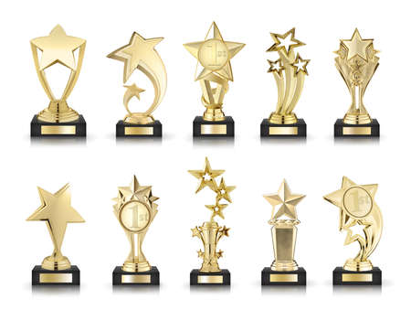 award winning: photos collection of stars awards isolated on white