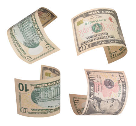 alexander hamilton: Set di volare dieci dollari di fatture. Isolati su bianco