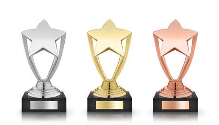 trofeo: estrellas premios aislados sobre fondo blanco