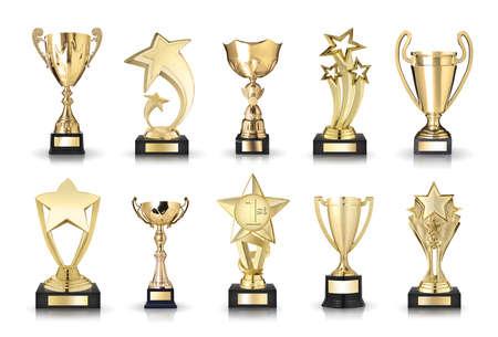 trofeo: fotos colección de tazas de trofeos y premios estrellas Foto de archivo