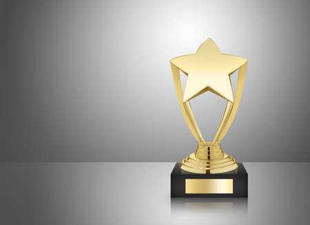 Trofeo de oro estrella sobre fondo gris Foto de archivo - 37507937