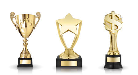 sports trophy: Cup trophy, star award and dollar sign trophy Stock Photo