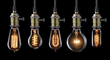 electricidad: Conjunto de bombillas incandescentes de la vendimia en negro Foto de archivo