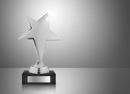 silver star: Silver star trophy on gray background