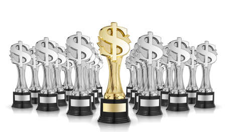 A lot of golden dollar sign trophies isolated on white