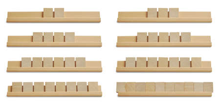 Collection of blank wood tiles isolated on white background Foto de archivo