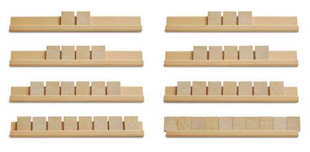 pizarra: Colecci�n de azulejos de madera en blanco aislado en fondo blanco