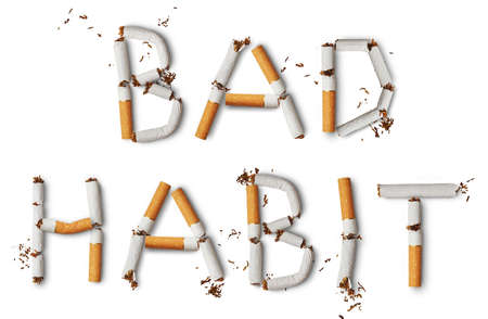 bad habit: Text Bad Habit made from broken cigarettes