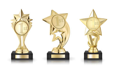 Three golden stars awards isolated on white background