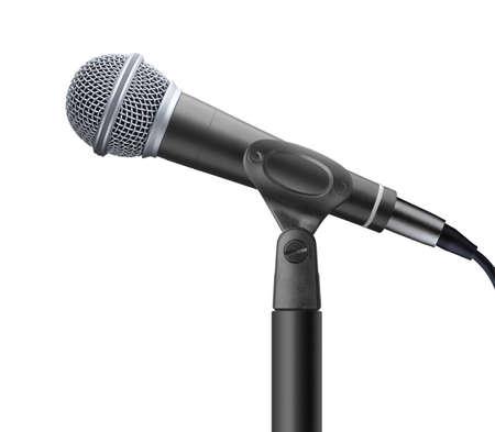 microfoon geïsoleerd op witte achtergrond  Stockfoto