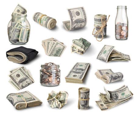 cuenta: Conjunto de billetes de dólar aislados sobre fondo blanco Foto de archivo