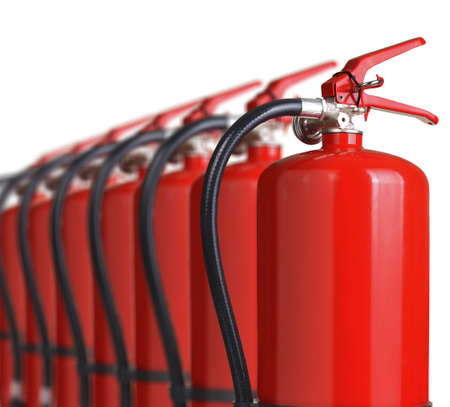 fire protection: fire extinguishers close up isolated on white background