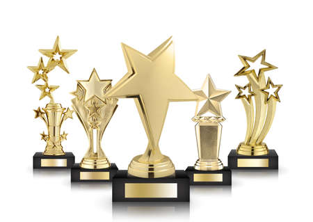 gold star trophies isolated on white background Stock Photo