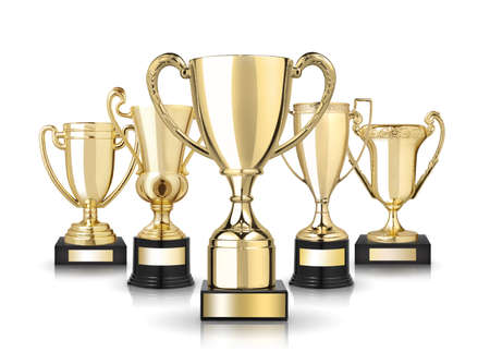 winning first: Set of golden trophies. Isolated on white background Stock Photo