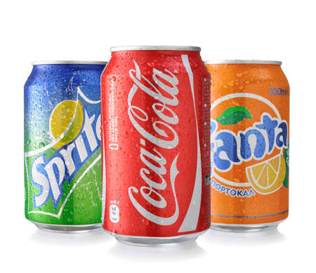 SOFIA, BULGARIA - MAY 27, 2014: Coca-Cola, Fanta and Sprite Cans Isolated On White. The three drinks produced by the Coca-Cola Company