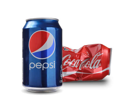 illustrative material: SOFIA, BULGARIA - AUGUST 28, 2014 Concept of competitiveness on Pepsi vs Coca-Cola Editorial