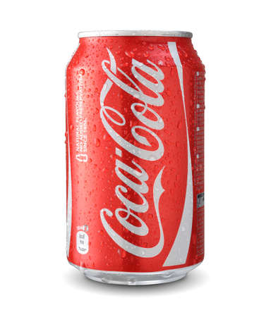 SOFIA, BULGARIA - JUNE 06, 2014: Cola Cola can with water drops isolated on white.