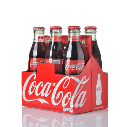 carbonated: LOS ANGELES, USA - MARCH 30, 2015 Coca-Cola bottles.Coca-Cola is the one of the worlds favorite carbonated beverages