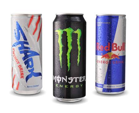 bull rings: SOFIA, BULGARIA - MAY 28, 2014: Photo of Shark, Red Bull and Monster energy drink cans isolated on white backgroun Editorial