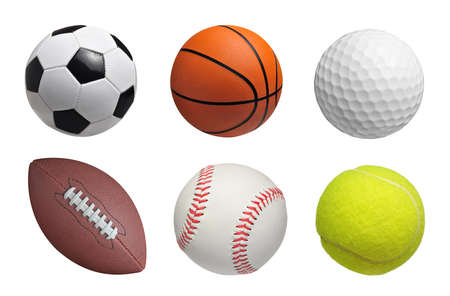 soccer sport: Set of balls isolated on white background Stock Photo