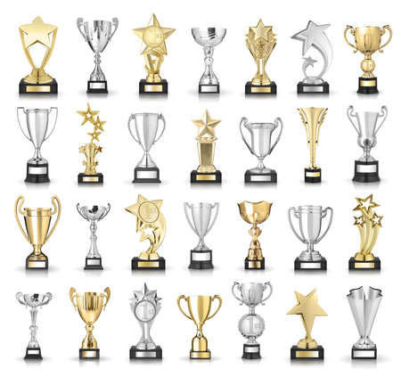Set of golden trophies. Isolated on white background 版權商用圖片