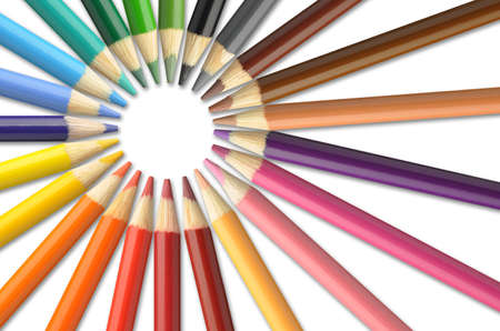 pencil: Colorful pencil crayons on a white background Stock Photo