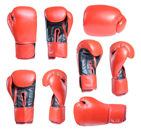 boxing equipment: Collection of boxing gloves isolated on white background Stock Photo