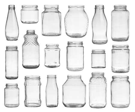 Glass: Colección de frascos vacíos aislados en fondo blanco