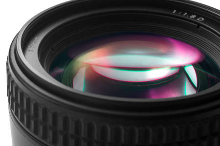 Closeup of a photographic lens on white