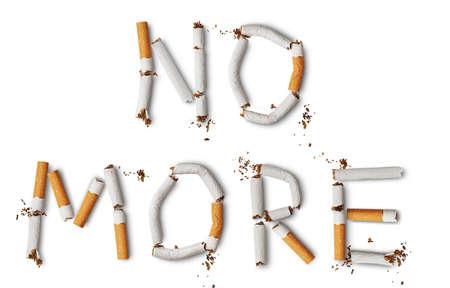 Text NO MORE made from broken cigarettes Reklamní fotografie