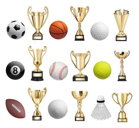 trofeo: Conjunto de bolas y trofeos de oro Foto de archivo
