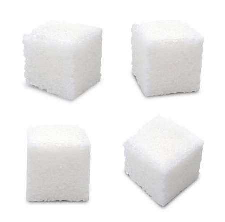azucar: Conjunto de cubos de az�car en el fondo blanco