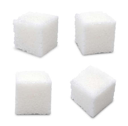 Set of sugar cubes on white background Stock Photo