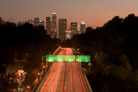los: Los Angeles sunset highway traffic skyline Stock Photo