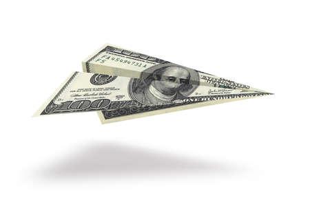 One hundred dollar plane isolated on white background Foto de archivo