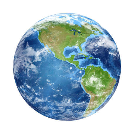 Planet Earth from space showing North & South America, USA. World isolated on white background. Elements of this image furnished by NASA