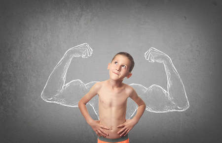 healthy growth: Boy with sketched strong and muscled arms