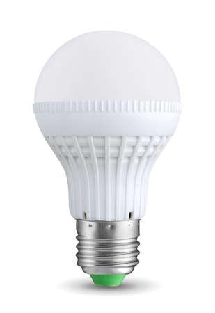 electricity generation: LED bulb isolated on white background Stock Photo