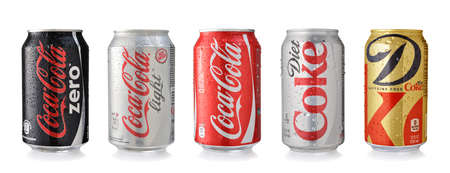 cola canette: LOS ANGELES , USA - NOVEMBER 19, 2014: Coca-Cola cans. Coca-cola is the worlds most selling carbonated soft drink Éditoriale